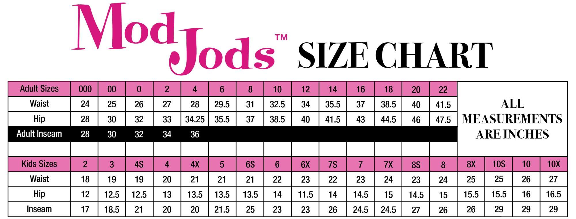 ModJods Size Chart
