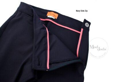 Navy Side Zip Open